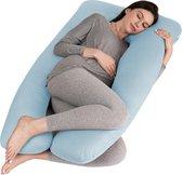 Litollo® Zwangerschapskussen XXL - Voedingskussen - Lichaamskussen - Body pillow - 280cm - Afneembare hoes - Blauw