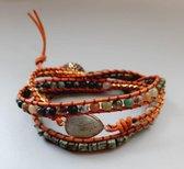 een wens - Wikkelarmband 3 laags - natuursteen - afrikaans turquoise - indiaas agaat