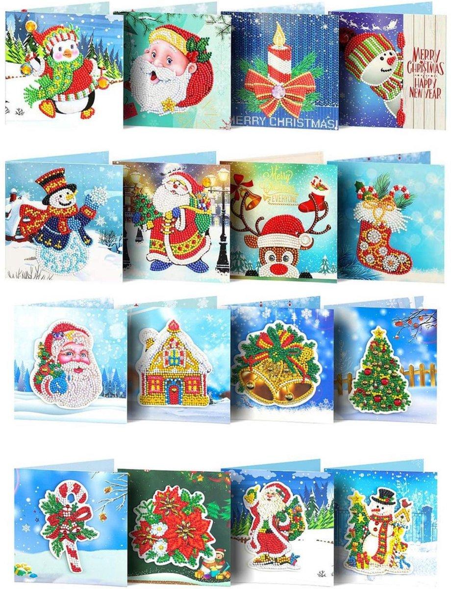 Crafterman™ Diamond Painting Kerstkaarten pakket Volwassenen - VOORDEEL SET - RONDE STEENTJES! - 16 Pack - Met E-Book