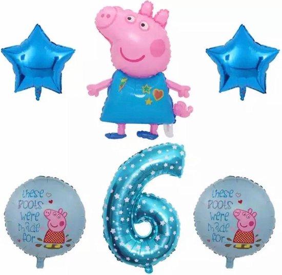Peppa Pig folie ballonen 6 stuks Decoratie Kinderen Verjaardag Ballon Nummer 6