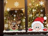 Raam Kerststickers - Raamstickers - Decoratie Stickers - Kerstman met Rendier en Sneeuwvlokken - Kinderen