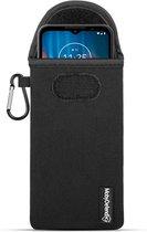Hoesje voor Motorola Defy (2021), MobyDefend Neopreen Pouch Met Karabijnhaak, Insteekhoesje, Riemlus Hoesje, Zwart   GSM Hoesje / Telefoonhoesje Geschikt Voor: Motorola Defy (2021)