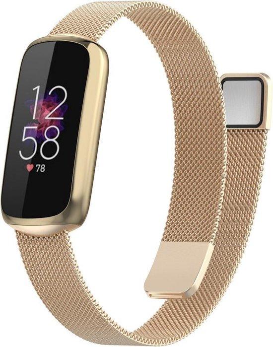 Luxe Milanese Loop Armband Voor Fitbit Luxe Activity Tracker Smartwatch - Horloge Bandje - Metalen iWatch Milanees Watchband Polsband - Stainless Steel Mesh Watch Band - Horlogeband - Magneet Sluiting - One-Size - Champagne