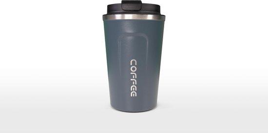 Koffiebeker To Go | Herbuikbare Koffiebeker | Thermosbeker Auto | Duurzame Koffie Beker | Thermosfles | RVS Reisbeker | Dubbelwandige Travel Mug | 380 ml | Blauw
