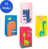 Uitdeelzakjes papier 12 Stuks - Traktatie zakjes voor Uitdeelcadeautjes - Uitdeelzakjes + sticker Kinderfeestje - Kinderen