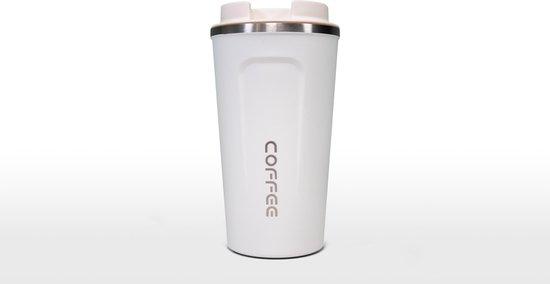 Koffiebeker To Go | Herbuikbare Koffiebeker | Thermosbeker Auto | Duurzame Koffie Beker | Thermosfles | RVS Reisbeker | Dubbelwandige Travel Mug | 510 ml | Wit