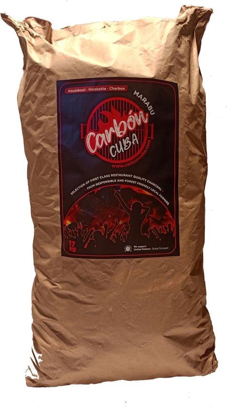 Carbon Cuba - 17kg Marabu Houtskool - grote stukken zonder gruis - brandt gelijkmatig en lang zonder vonken - betere smaak - stofvrij - rookarm en geur-neutraal - voor Low&slow én Hot&fast - Perfect voor Kamado Big Green Egg of (kleine) Kogel BBQ