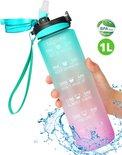 Migliore Waterfles 1 Liter - Met Rietje - Motivatie - Bidon - 1 Liter - Sportdrankfles - Grote Waterfles - Tijdmarkering - Waterjug - Groen - Paars