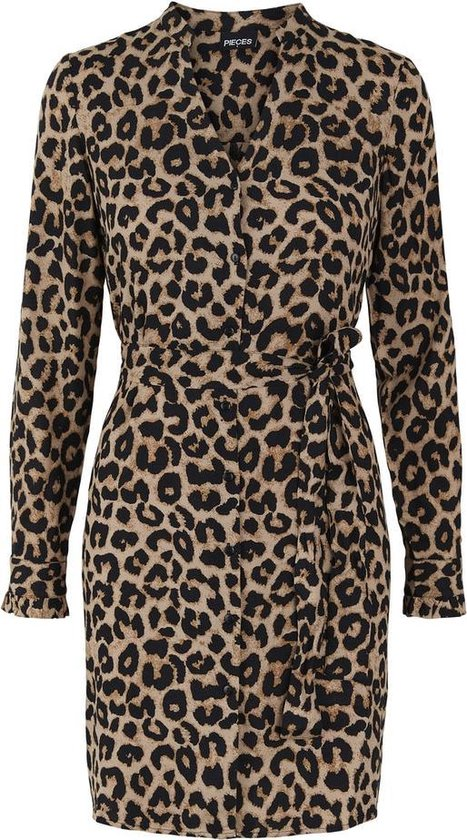 Pieces PCNULLA SHIRT DRESS Black Dames Jurk - Maat S