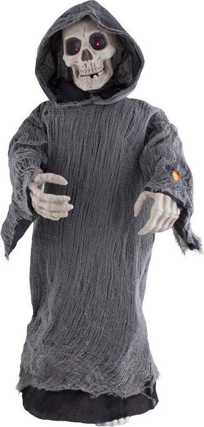 Halloween - Groot decoratie skelet/Magere Hein staand 95 cm met beweging licht en geluid - Halloween decoratie poppen