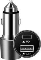 iSetchi Autolader USB-C & USB-A Snellader Metaal - Twee oplaad poorten met Snelladen 38 Watt - Auto Oplader Sigarettenaansteker – Voor iPhone 8/10/11/12/13  - Samsung - Android