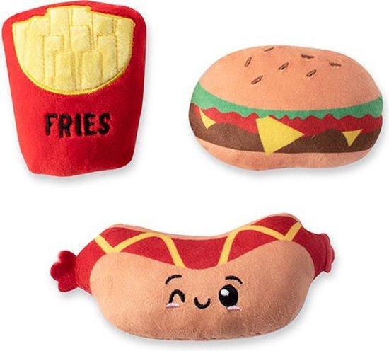 Fringe Set fast foods 289504 Speelgoed voor dieren - honden speelgoed – honden knuffel – honden speeltje – honden speelgoed knuffel - hondenspeelgoed piep - hondenspeelgoed bijten