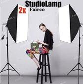 2X Studiolamp - Foto Studio Verlichting Kit, 2X Achtergrond Support System Softbox Paraplu tripod Stand - fotolamp fotografie softbox Statief 210Cm van HiCHiCO