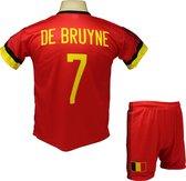 Kevin De Bruyne | België Thuis Tenue | Voetbalshirt + Broek Set | 2021-2022 EK/WK Belgisch voetbaltenue - Maat S (164) - Rood