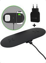 iSetchi 2-in-1 Draadloze Qi Oplader (15W snellader) - Inclusief Quick Charge 3.0 Oplaadstekker - Draadloos Opladen Station - Telefoon Lader Voor iPhone/Apple - Samsung - Android - Airpods & Galaxy Buds