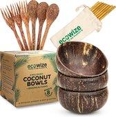 Ecowize Coconut Bowls (Set van 3) - Kokosnoot Kom & Schaal - Met 3 Lepels, 3 Vorken en 8 Bamboe Rietjes - Zero Waste & Herbruikbaar - Duurzaam Cadeau
