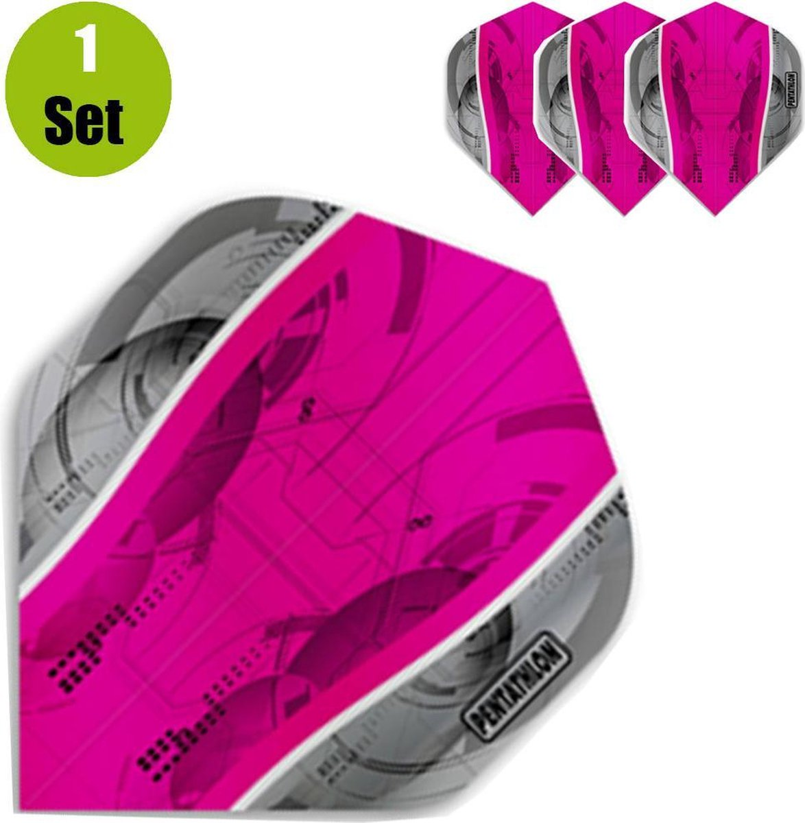 Pentathlon Silver Edge Dartflights - Roze- ()