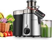 Rochester Sapcentrifuge voor Groenten & Fruit - Juicer met microfilter - Grote Vulopening - 3 snelheden - Zwart/RVS