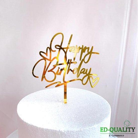 cake topper (Gold) - Happy birthday -EDQuality cake topper - caketopper - verjaardag - taartdecoratie - taart topper - taart versiering