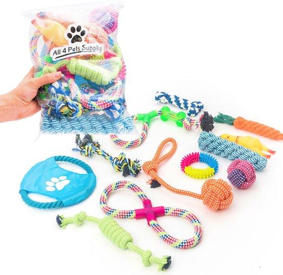 Honden speelgoed geschikt voor puppy's t/m middelgrote honden - 12 stuks