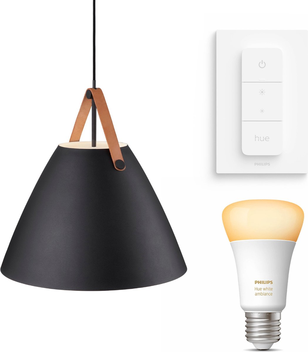 Nordlux Strap 48 hanglamp - LED - zwart - 1 lichtpunt - Incl. Philips Hue White Ambiance E27 & dimmer