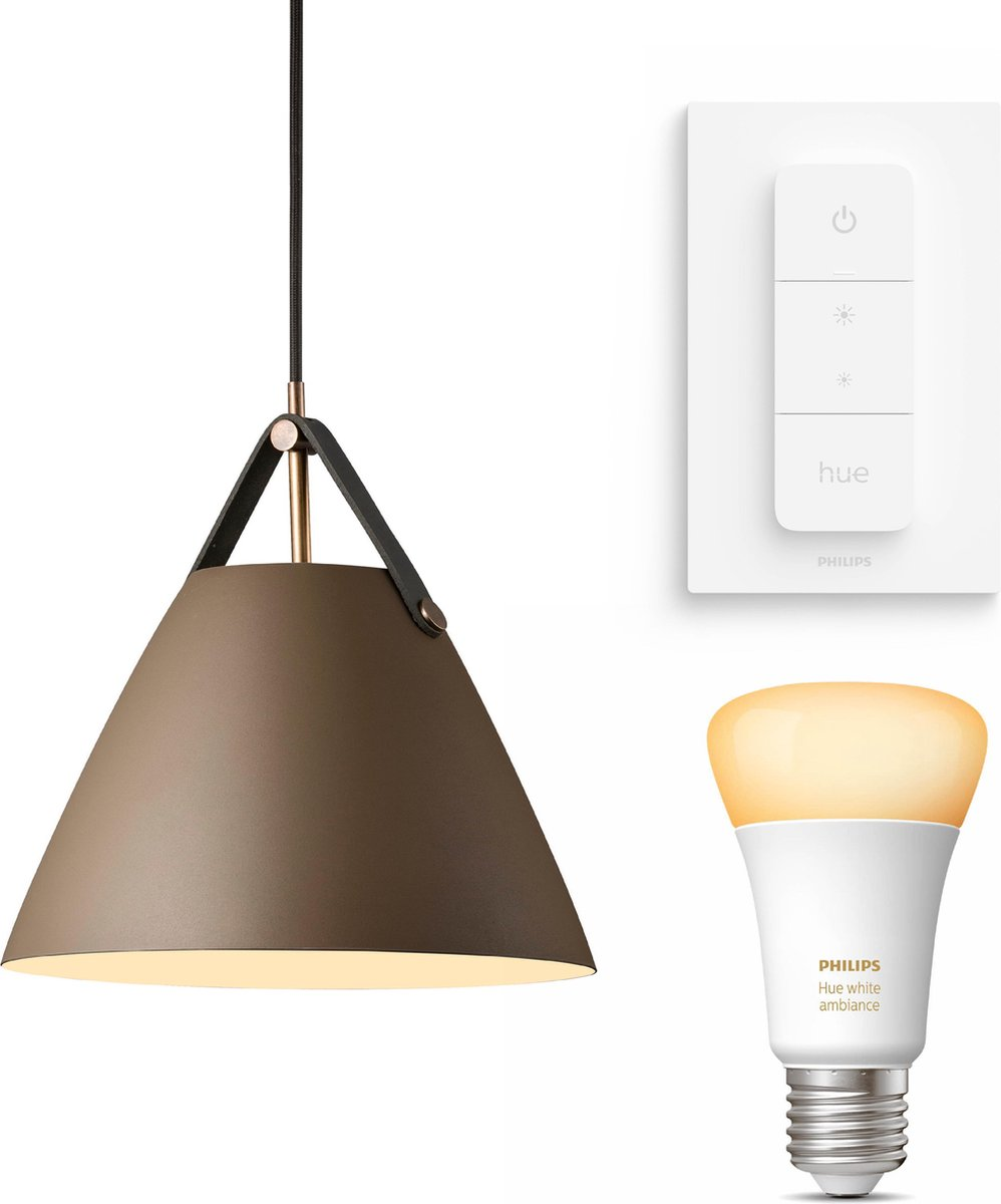 Nordlux Strap 27 hanglamp - LED - bruin - 1 lichtpunt - Incl. Philips Hue White Ambiance E27 & dimmer