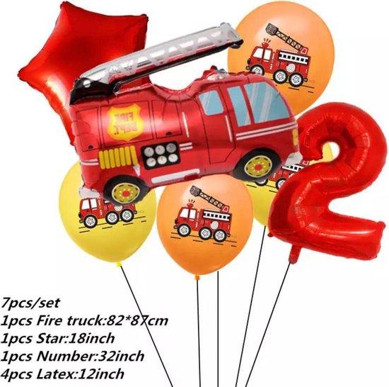 Brandweerwagen Folie Ballon nummer 2 ballonen set 7 delig brandweerwagen