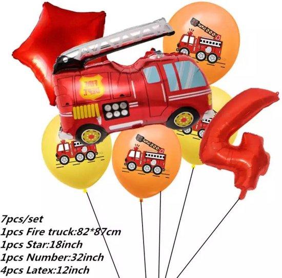 Brandweerwagen Folie Ballon nummer 4 ballonen set 7 delig brandweerwagen