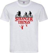 Wit T shirt met Zwart / rood