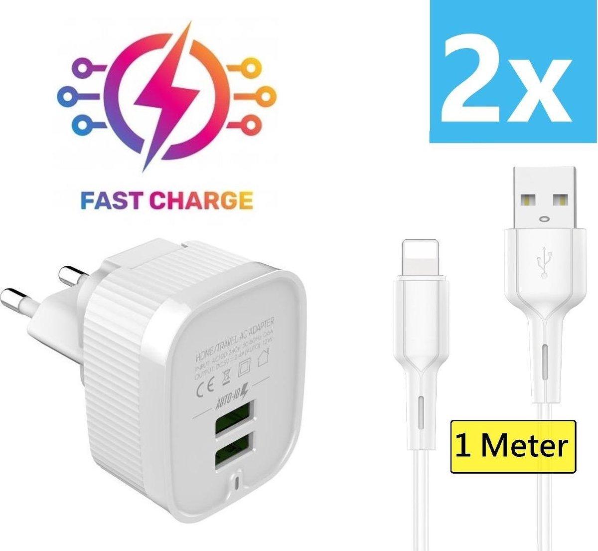 iPhone oplader kabel geschikt voor Apple iPhone 6,7,8,X,XS,XR,11,12,Mini,Pro Max- iPhone kabel - iPhone oplaadkabel - iPhone snoertje