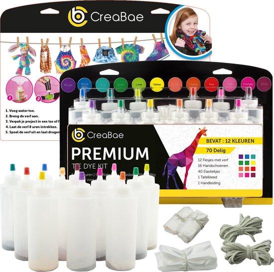 Creabae - Tie Dye Kit XL - 70 Delig - Tie Dye Verf - Textielverf - Tie Die - Tye Dye