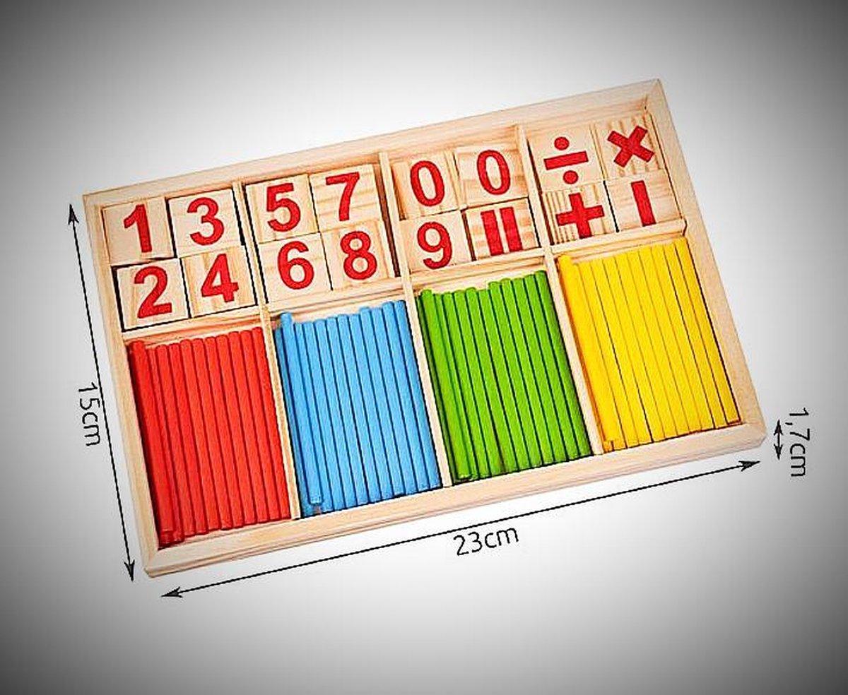 A&K Rekenliniaal Montessori speelgoed Houten telstok kinderen wiskunde speelgoed