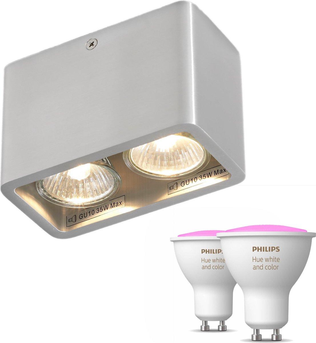 Artdelight Moni opbouwspot - Zilver - 2 lichtpunten - Incl. Philips Hue White & Color Ambiance Gu10