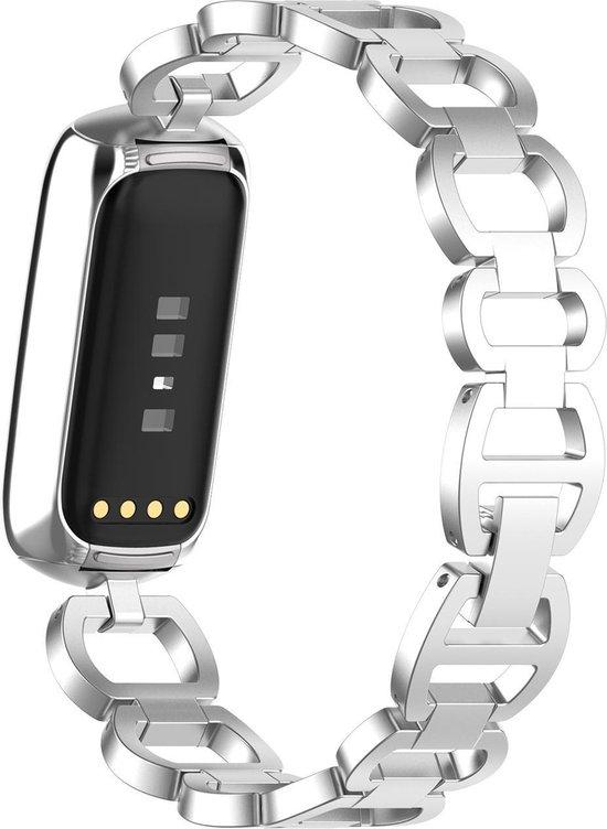 YONO Fitbit Luxe Bandje – Special Gevlochten Metaal RVS Schakel – Zilver