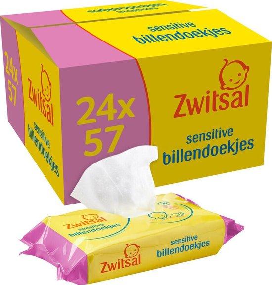 Zwitsal Baby Billendoekjes Sensitive - 24 x 57 stuks - Voordeelverpakking