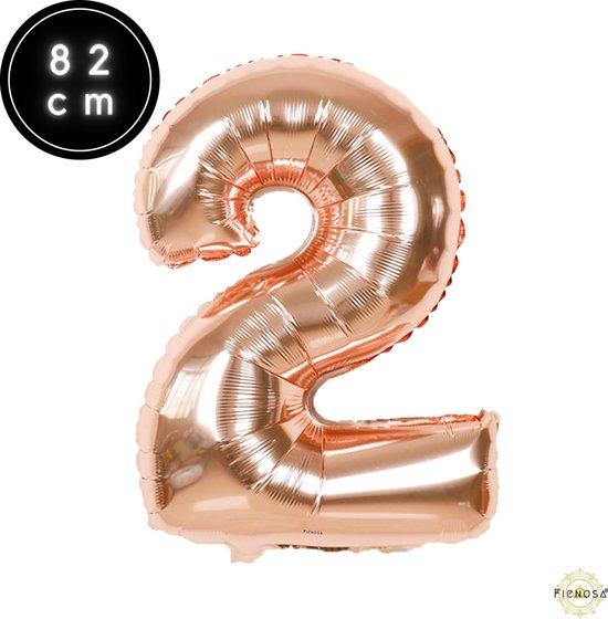 Cijfer Ballonnen - Cijfer Ballon Rose - Cijfer 2 Ballon - 82 cm Hoog - Ballonnen Verjaardag - Feestversiering - 21 Jaar - 25 Jaar - Fienosa