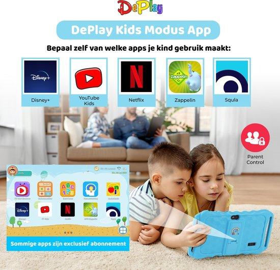 DePlay Kids Tablet - Kindertablet - Ouder Control App - Disney - Netflix Kids - Kinder tablet - Android 10.0 - 3000 Mah Batterij - Tablet Houder - Kidsproof Beschermhoes - Incl. Touchscreen Pen - Blauw