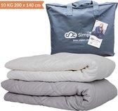 Verzwaringsdeken Set 10 KG Weighted Blanket Beter Slapen – Wasbare Warme Hoes – 200 x 140 – Wit