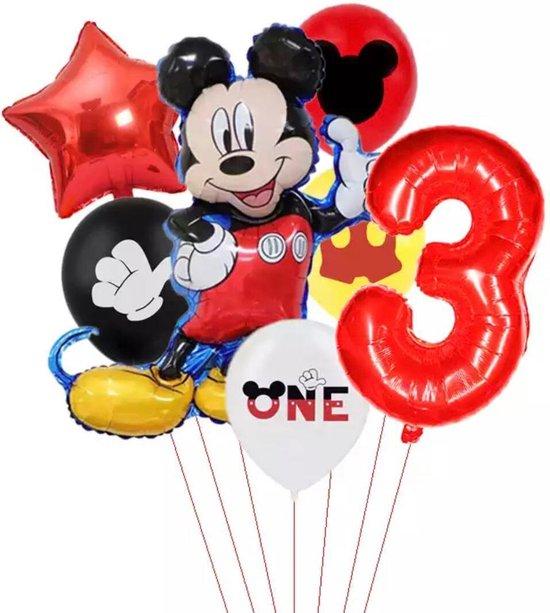 Disney Mikey Folie Ballonnen Set Mickey Mouse Ballon 7 stuks Verjaardagsfeestje Decoratie -3 jaar