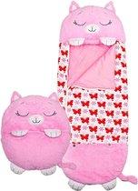 Happy napper -160 cms | slaapzak junior | nappers | Children Sleeping Bag | kinderen slaapzak | Super Soft 2 in 1 Fun Pillow &Sleepy for Boys | roze kat slaapzak | zachte slaapzak | knuffel slaapzak | 2 in 1 slaapzak | kinderen