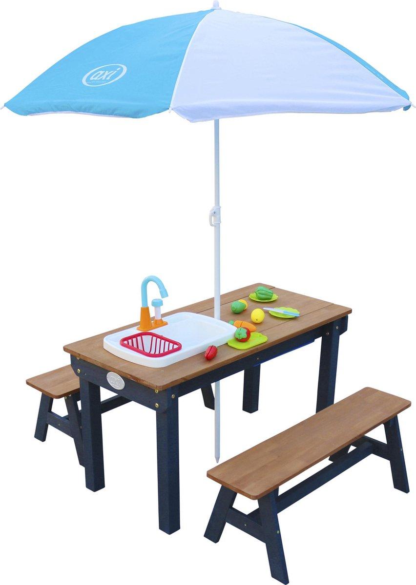 AXI Dennis Zand & Water Picknicktafel met Speelkeuken wastafel en losse bankjes Antraciet/bruin - Parasol Blauw/wit - Incl. 17-delige accessoire-set