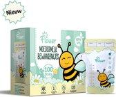 Flouer Moedermelk Bewaarzakjes met Schenktuit - Extra Groot - 240 ml - 100 Stuks - Borstvoeding Bewaarzakje - Borstvoeding Zakjes
