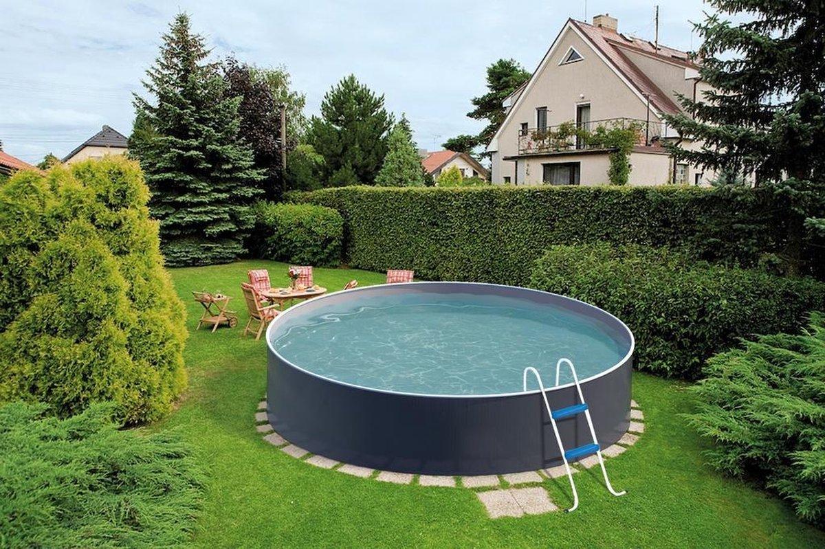 Staalwand zwembad Azuro - liner zwembad - grafiet / wit design - Afmeting: 4,6 x 1,2 m