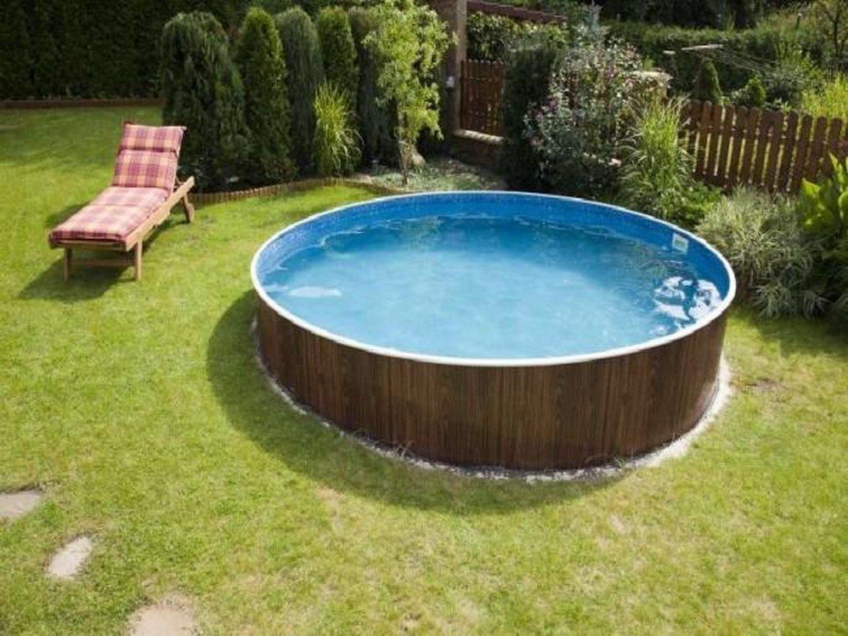 Staalwand zwembad Azuro - liner zwembad - hout design - Afmeting: 3,60 x 1,20 m