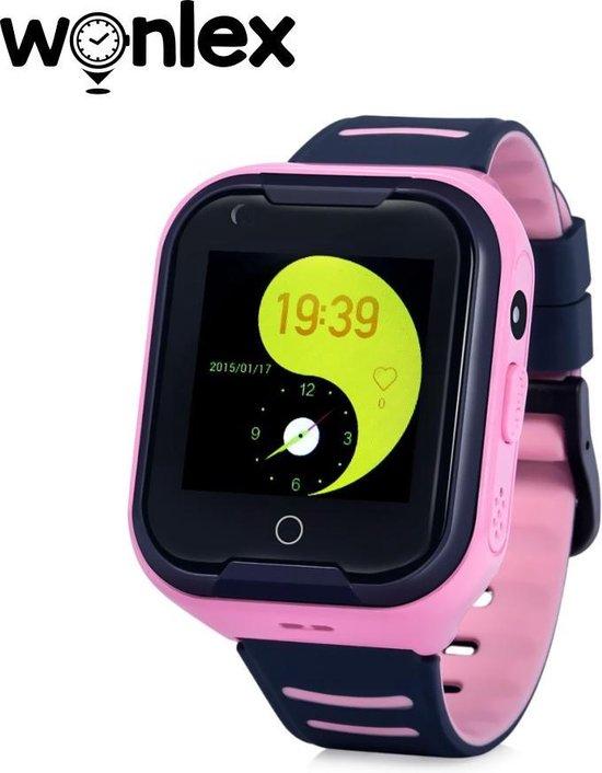 Wonlex GPS horloge kind - GPSHorlogeKids 4G videobellen - Smartwatch kind -tracker AQUA Wifi Roze [IP67 Waterdicht] incl. SIM-kaart