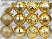 Set van 36x luxe gouden kerstballen 6 cm kunststof mat/glans - Onbreekbare plastic kerstballen - Kerstboomversiering goud