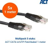CAT6 U/UTP Netwerkkabel 1 meter   Multipack   5 stuks