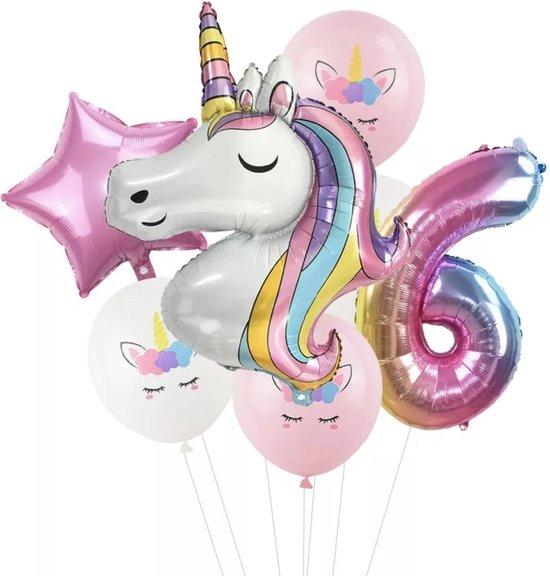 Unicorn ballon - Dieren ballon - 6 jaar - Kinderfeestje - Zes jaar - Verjaardagfeest - ballonnen pakket - Kinderfeestje pakket - Unicorn ballonnen pakket
