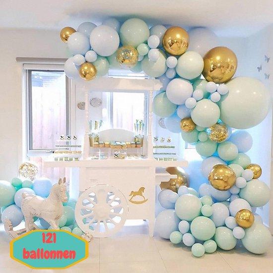 Baloba® BallonnenBoog Licht Blauw Licht groen Goud - Feest Versiering met Papieren Confetti Ballonnen - Verjaardag Bruiloft Versiering - 121 Helium Ballonnen