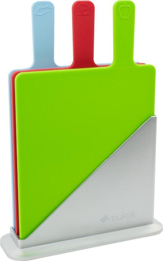 Maklik - Snijplank - Snijplankenset met Houder - Snijplank Kunststof - 3 Stuks - Groot